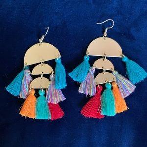Jewelry - Gold & Multicolor Tassel Earrings